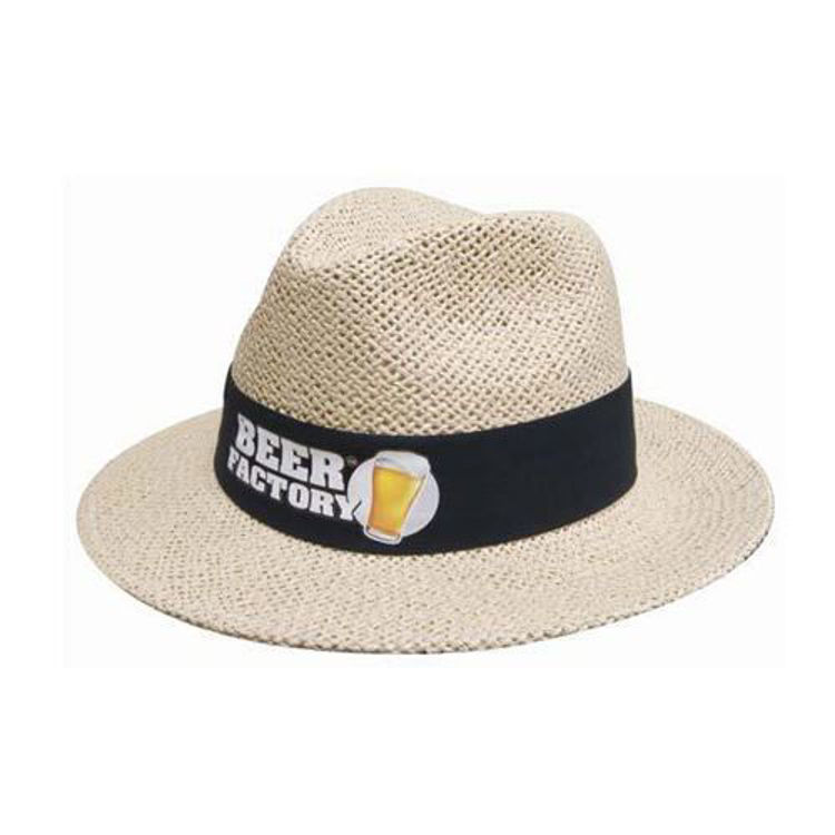 Picture of Natural Madrid Style String Straw Hat with material under brim